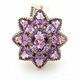 Fine Gem Amethyst Diamond 18KT Rose Gold BIG Flower Jewelry Ring 11.13Ct