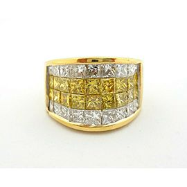 Fine Princess Diamond Channel Set Dome Ring Band 18Kt Yellow Gold 1.44Ct