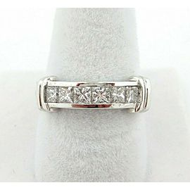 Fine Princess Diamond Channel Set Ring Band 18Kt White Gold 1.20Ct