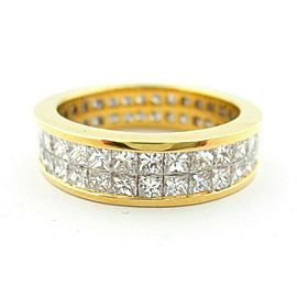 Fine Full Circle Princess Diamond Channel Set Ring 2-Row 18Kt Yellow Gold 3.20Ct