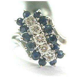 Blue Sapphire & Diamond Three Row Ring 14Kt White Gold 1.75Ct