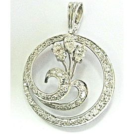Marquise & Round Diamond Circular Pendant 14Kt White Gold 2.25Ct F-VS1 1.5""