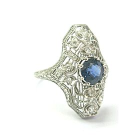 Vintage Milgrain Ceylon Sapphire & Diamond Ring Platinum 1.90Ct