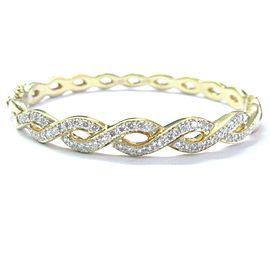"Criss Cross Natural Diamond Solid Yellow Gold Bangle Bracelet 18Kt 1.25Ct 2.5"""