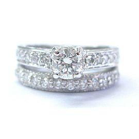 Fine Milgrain NATURAL Diamond White Gold Wedding Set Ring 1.16Ct G-VS2 14Kt