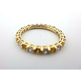 Tiffany & Co 18K Yellow Gold Sapphire & Diamond Shared Prong Band Ring .87Ct