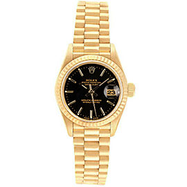 Rolex Datejust 26mm 69178 Women's Yellow Gold Automatic Black 1 Year Warranty