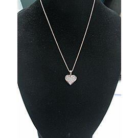 "Princess Cut Diamond Heart Pendant Necklace 18Kt White Gold 16"" 1.00Ct"