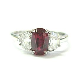 Natural Oval Ruby & Half MoonS Diamond Three Stone Ring 18Kt White Gold GIA