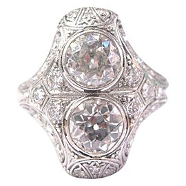 Art Deco Old European Cut Diamond Platinum Cocktail Ring 3.05Ct PT950 Sizeable