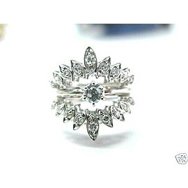 Fine Solitaire Wide Diamond White Gold Jewelry Ring 14KT 0.50CT