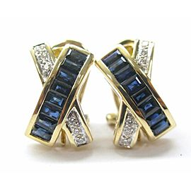 LeVian 18Kt Gem Sapphire Diamond Huggie Earrings Yellow Gold 2.50Ct