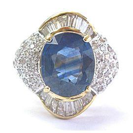 18Kt Oval Gem Blue Sapphire & Diamond Yellow Gold Ring 4.60Ct