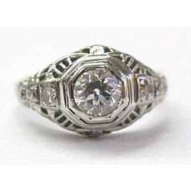 18Kt VINTAGE Old European Cut Diamond Engagement Ring .72CT White Gold