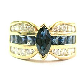 Marquise Blue Sapphire & Diamond Ring Solid 14Kt Yellow Gold 2.35Ct G-VS1