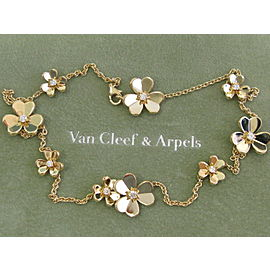 Van Cleef & Arpels 18Kt Frivole Flower Diamond Yellow Gold Necklace .69Ct!