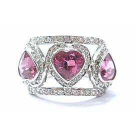Fine Heart Shape Pink Tourmaline Diamond 3-Stone White Gold Ring 4.60Ct