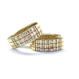 18Kt Round Cut Diamond Bar Setting Yellow Gold Huggie Earrings .75Ct
