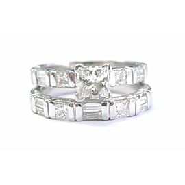 Platinum Princess & Baguette Diamond Multi Shape Wedding 2-Ring Set 1.59Ct
