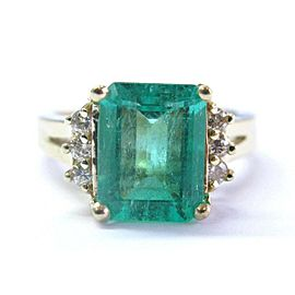 NATURAL Colombian Green Emerald & Diamond Yellow Gold Jewelry Ring 3.23Ct 14KT