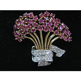"Bucket of Flower Ruby Diamond Yellow Gold Pin / Brooch 14Kt 1.58Ct 1.5"" x 1.75"""