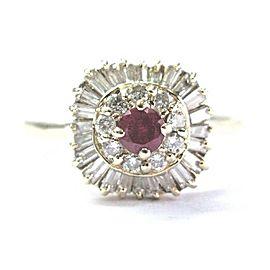 Fine Gem Ruby & Diamond Yellow Gold Ballerina Jewelry Ring .70Ct 14KT