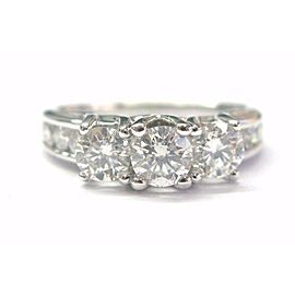 Three Stone Round Diamond Channel Set Engagement Ring 14Kt White Gold