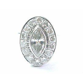 Marquise & Round NATURAL Diamond Engagement Ring 18Kt White Gold 2.20CT I-VS1