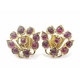 22Kt Gem Red Ruby Yellow Gold Stud Flower Earrings 8.00CT