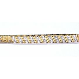 20Kt Round Cut NATURAL Diamond Yellow Gold ID Bracelet 2.20Ct 6.75""