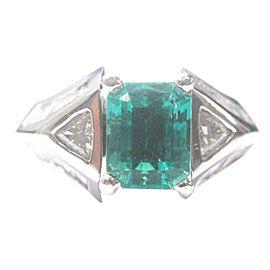 Platinum NATURAL BERYL EMERALD Diamond Anniversary Jewelry Ring 4.15CT