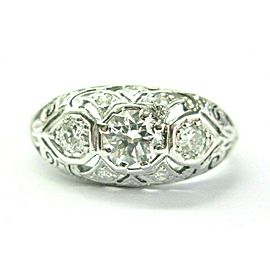 Vintage Old European Cut Diamond Three Stone Ring 18Kt White Gold .68Ct F-VS