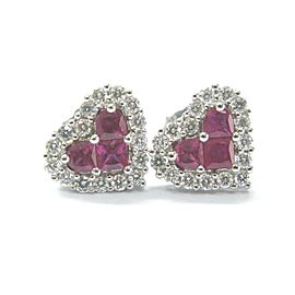 Fine Gem Ruby Diamond Heart Shape White Gold Stud Earrings 1.22Ct