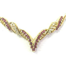 Natural Ruby & Diamond V Necklace 14Kt Yellow Gold 1.95Ct + .30Ct 16.5""