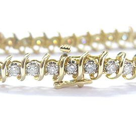 Fine Round Cut Diamond Tennis Bracelet Yellow Gold 14KT 3.60Ct 36-Stones