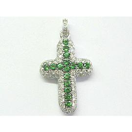 "Tsavorite & Diamond Puffy Cross Pendant 18Kt White Gold 3.25Ct 2"""