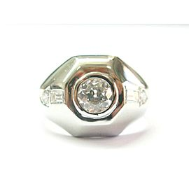 Vintage Old European Diamond Ring Platinum .96Ct G-SI1 EYE CLEAN
