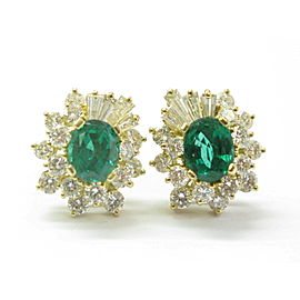 Green Emerald & Diamond Stud Earrings 18Kt Yellow Gold 4.68Ct AAA-VS 17mm