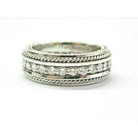 Milgrain Diamond Eternity Band 18KT White Gold 28-Stones 1.00Ct Size 6 7mm