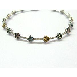 Floral Multi Color Diamond Bracelet 14Kt White Gold 2.25Ct 7""