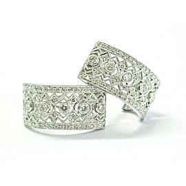 """Milgrain Diamond Huggie Earrings 14Kt White Gold 1.26Ct 1"""" F-VS1"""