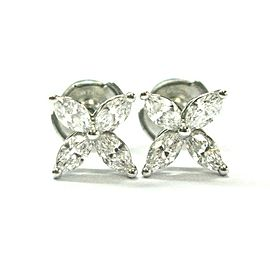 Tiffany & Co Platinum Victoria Diamond Earrings Medium Size .92Ct