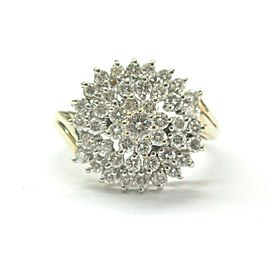 Round Diamond Cluster Ring 14Kt Yellow Gold 1.00Ct