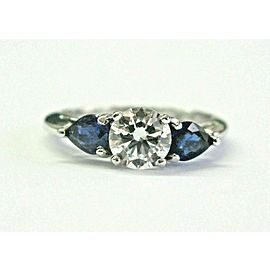 Round Diamond & Blue Sapphire Engagement Ring Platinum 950 1.79CT GIA F-VVS2