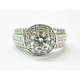Halo Diamond Engagement Ring 18Kt White Gold 2.08Ct H-SI1 EGLUSA
