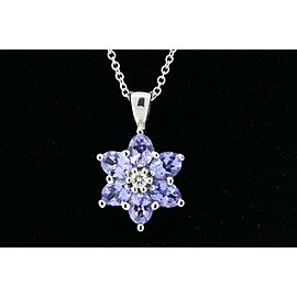 Effy BH Tanzanite Diamond Pendant Necklace 14k White Gold Flower 16""