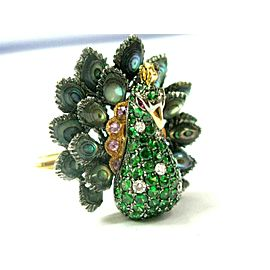 Peacock Garnet Sapphire Diamond & Mother Of Pearl Ring 14Kt Yellow Gold 8.84Ct