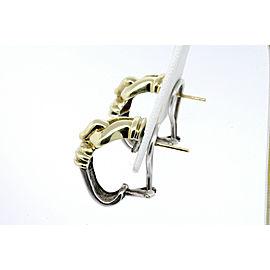 David Yurman Buckle Earrings Hoops 14k Gold Sterling Silver Omega Backs