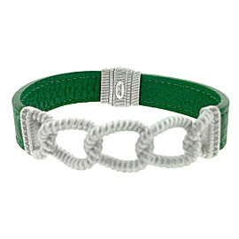 Judith Ripka Sterling Silver Chain Green Leather Bracelet