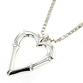 GUCCI Bamboo 925 Silver heart Necklace TBRK-277